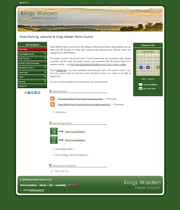 Kings Walden Parish Council website